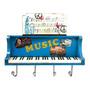 Prateleira Piano Azul Com Ganchos Oldway Em Metal
