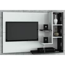 Painel Para Tv Acapulco Com 136 Cm Branco Preto Simbal