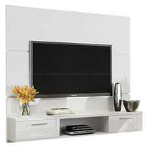 Painel Suspenso Flat Branco Tv Led Plasma Sala Hb Móveis