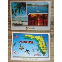 2 Cartões Postais Cartão Florida Estados Unidos U S A Novo