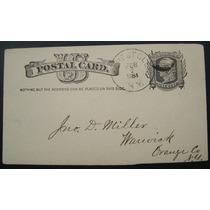 Postal Usa, Selo One Cent Ano 1884, Circulado, New York