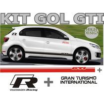 Kit 6 Adesivos / Faixas Laterais + Logos Gol Gti G5 Tuning