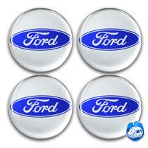 Calotinha Resina Ford Prata P/ Calota Ou Roda C/4 Peças 58mm