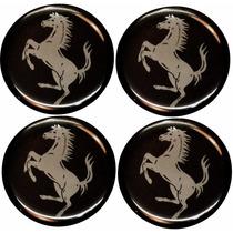 Jogo Emblemas Ferrari Preto P/ Calota Ou Roda C/4 Peças 48mm