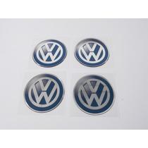 Kit 4 Emblemas Centro Roda Resinado Volkswagen 51mm - Decalx