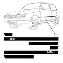 Friso Lateral Fiat Uno Mille Personalizado Preto 2p - 6pçs