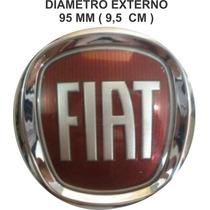 Emblema Fiat Vermelho Mala/grade 95mm Diametro