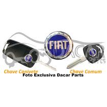 Emblema Resinado Adesivo P/chave Canivete Ou Comum Fiat Azul
