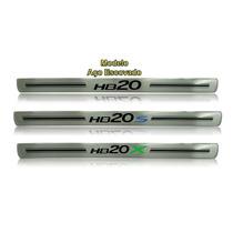 Protetor Soleira Hyundai Aço Escovado Hb20 E Hb20s E Hb20x