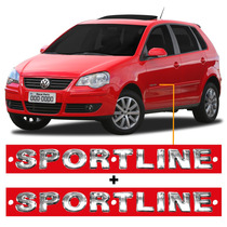 Par Emblemas Sportline Cromado 2 Peças Polo Hatch Ou Sedan.