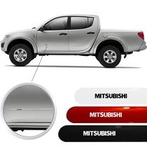 Friso Lateral Da Mitsubishi L200 Triton Branco Prata Preto