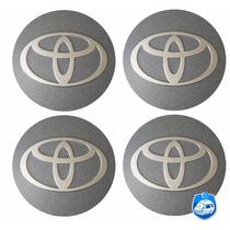 Emblemas C/ 4 Pçs Alumínio Toyota Grafite Autocolante 58mm
