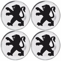Jogo Emblemas Peugeot Prata P/calota Ou Roda C/4 Peças 55mm