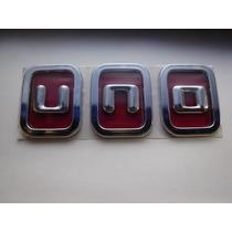 Emblema Cromado E Vermelho Uno P/ Linha Fiat Nova 11/..- Bre
