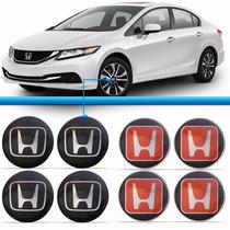 Jogo 4 Emblema Honda 51mm Calota Fit City Civic Crv Adesivo