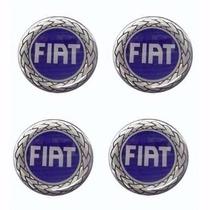 Jogo Emblema Fiat Azul Botom P/ Calota Roda Esportiva 51mm