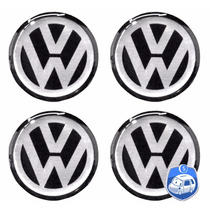 Jogo Emblemas Volkswagen P/ Calota Ou Roda C/4 Peças 48mm