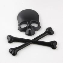 Adesivo Skull Caveira 3d Emblema Carro Moto Harley Preto
