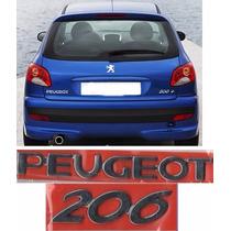 Emblema Nome Peugeot + 206 Cromado