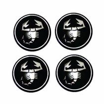Jogo Emblema Abarth Preto Para Calota Roda Esportiva 48mm