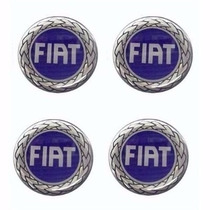 Jogo Emblema Fiat Azul Botom P/ Calota Roda Esportiva 58mm