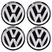 Kit Emblemas Volkswagen Vw P/ Calota Ou Roda C/4 Peças 48mm