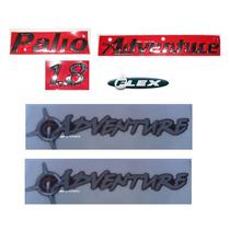Kit Emblemas Palio+weekend+1.8+adventure+flex+adesivos Mmf
