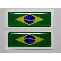 Par Adesivos Bandeira Brasil Resinado 2x5cm Bd13 - Decalx