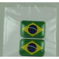 Adesivos Resinados Bandeiras Para Placa Do Carro Brasil
