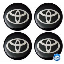 Logotipo C/ 4 Pçs Resinado Toyota Preto Autocolante 58mm