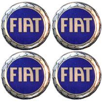 Jogo Emblemas Fiat Azul P/calota Ou Roda C/4 Peças 58mm
