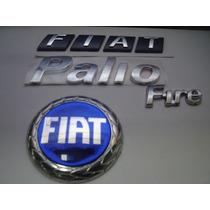 Kit Emblema Fiat Mala + Palio + Fire + Grade Azul 01/07- Bre