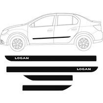 Kit Friso Lateral Renault Logan 2014/... Com Escrita 4 Peças
