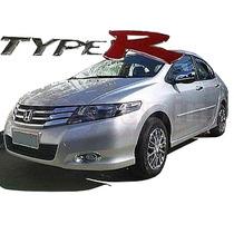 Jgo De Aplique Cromado P/ Grade Honda City + Emblema Type R