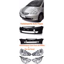 Parachoque Honda Fit 2007 2008 + Par Farol Cromado,1º Linha