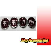 Emblema De Alumínio Fiat Vermelho 50mm Original