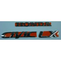 Emblemas Honda Civic Lx Cromado Kit Com 3 Peças