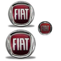 Kit Emblemas Fiat Vermelho Palio Weekend Grade Mala E Chave