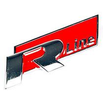 Emblema Grade R-line Cromado Metal Vw Preto Vermelho