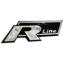 Par Emblema Adesivo Resinado Vw R Line Preto Prova D Agua