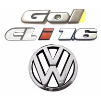 Kit Emblema Gol Bola Cli 1.6 + Vw Da Grade - Modelo Original