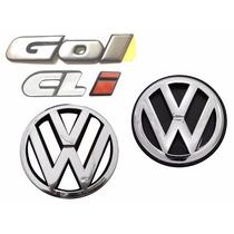 Kit Emblema Gol Bola Cli + Vw Grade E Mala - Modelo Original