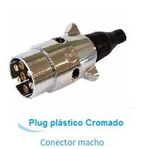 Plug 6 Polos P/ Engate Reboque Cromada - Parte Macho