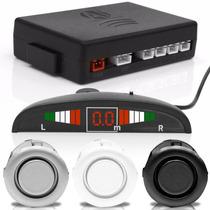 Sensor Automotivo Estacionamento Ré 4 Sensores Branco Preto