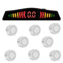 Sensor De Estacionamento 8 Pontos Branco Ré Dianteiro