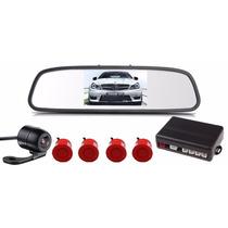 Sensor Estacionamento Câmera Ré Retrovisor Lcd 4.3 Vermelho