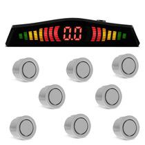 Sensor De Estacionamento 8 Pontos Prata Ré Dianteiro