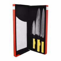Kit Conjunto Faca Chef P/ Sushiman Sashimi Sushi Peixe 3 Pçs