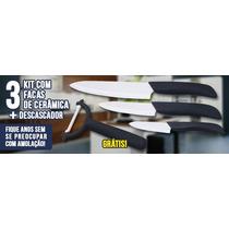 Kit Faca De Ceramica 3 Facas + Descascador