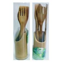 Jogo De 4 Talheres De Bambu, Com 1 Suporte Redondo De Bambu